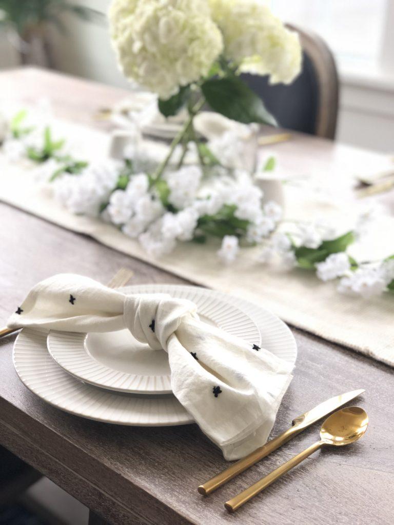 white hydrangea spring table