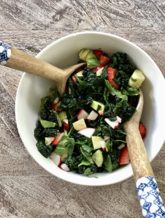 healthy strawberry kale and spinach salad